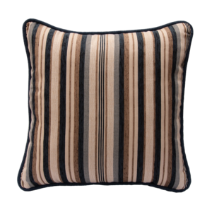 Mirabel Chenille Stripe - Piped Finish Cushion - Blue
